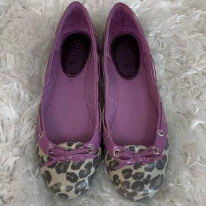 Sperry Coated Canvas/Patent Leather Leopard Flats